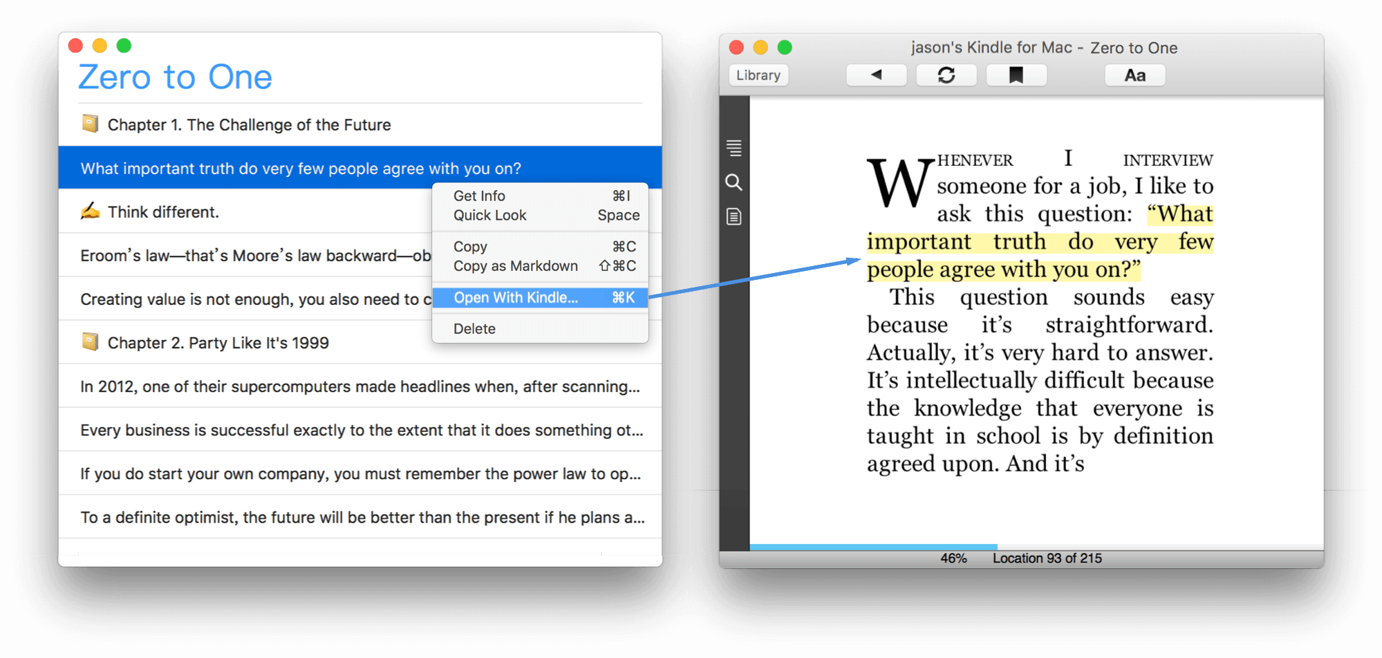 Klib support reviewing Kindle highlights and notes on macOS. Support open Kindle for macOS to review context of highlights and notes.
